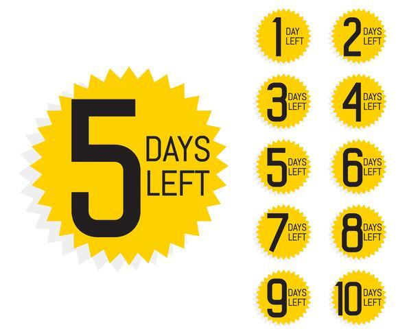 cantidad de días que quedan etiquetas para la venta y promoción