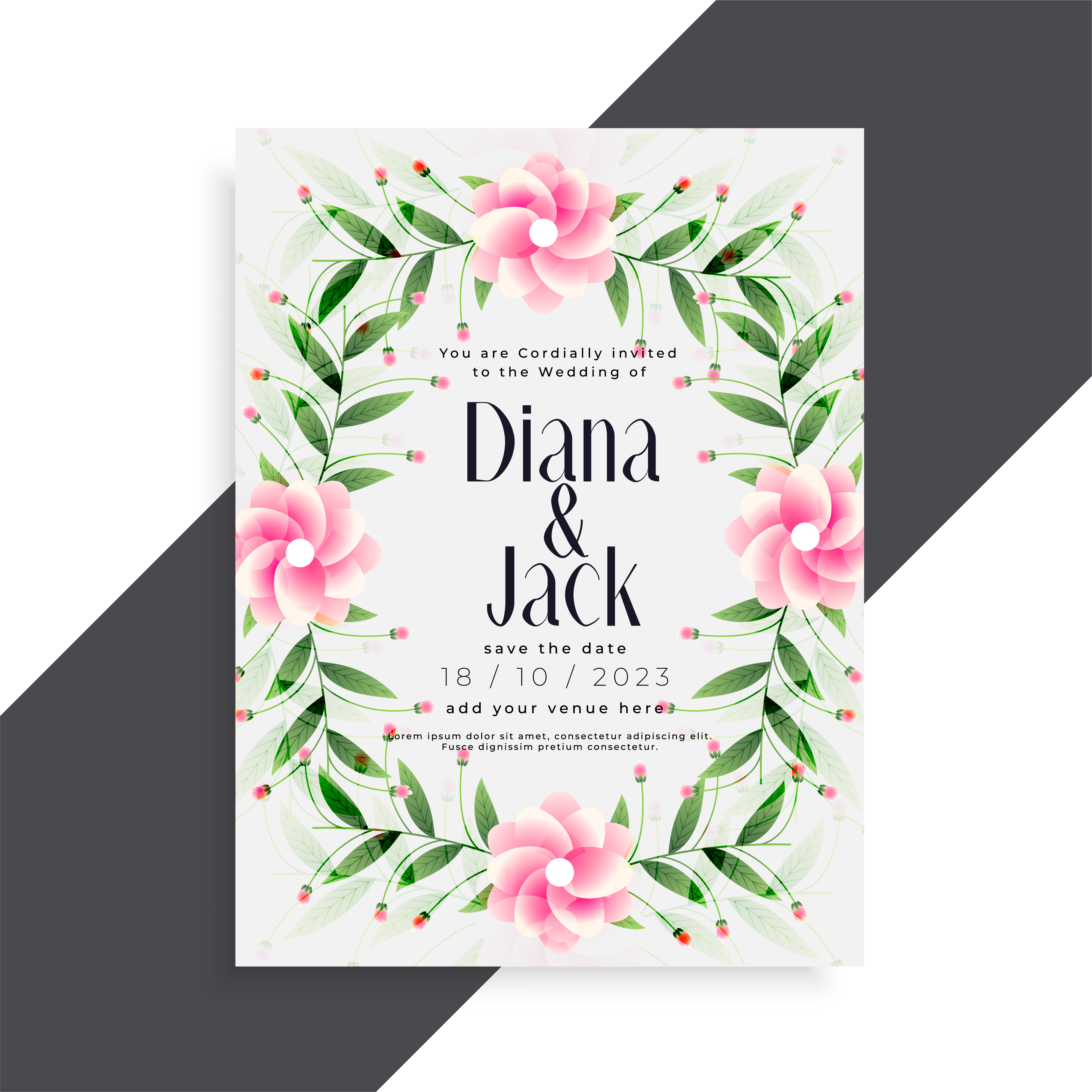 Beautiful wedding invitation pink flower card design download free beautiful wedding invitation pink flower card design download free vector art stock graphics images izmirmasajfo