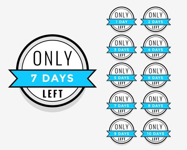 antal dagar kvar klistermärke eller etikett märkesdesign