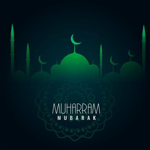 green muharram mubarak islamic background