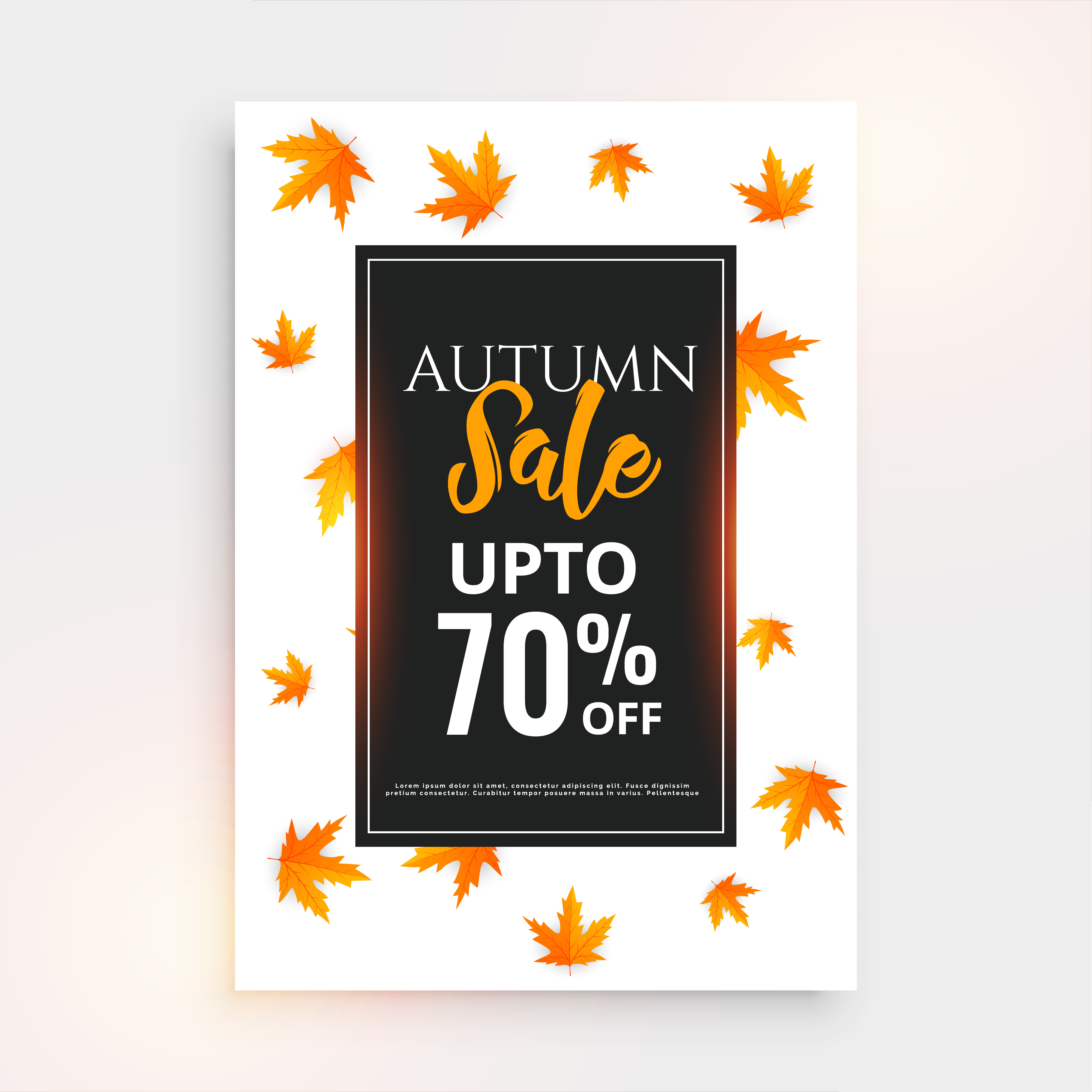 promotional autumn sale flyer design with text space download free