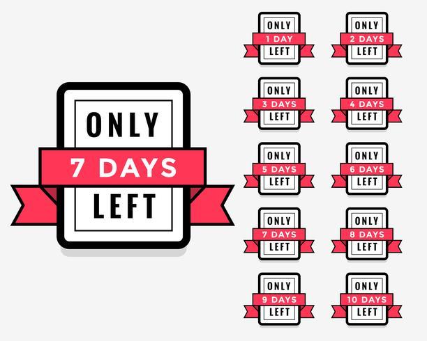 antal dagar kvar etikett eller märkesdesign för försäljning marknadsföring