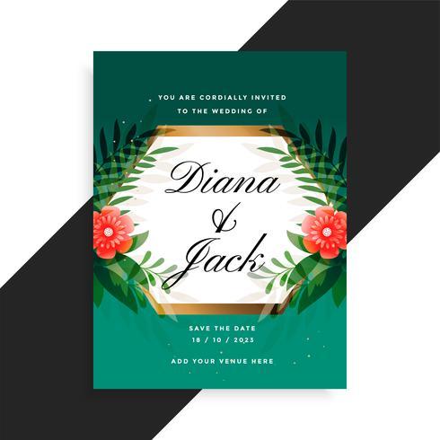 huwelijksuitnodiging bloemenkaartontwerp met bloem en bladeren