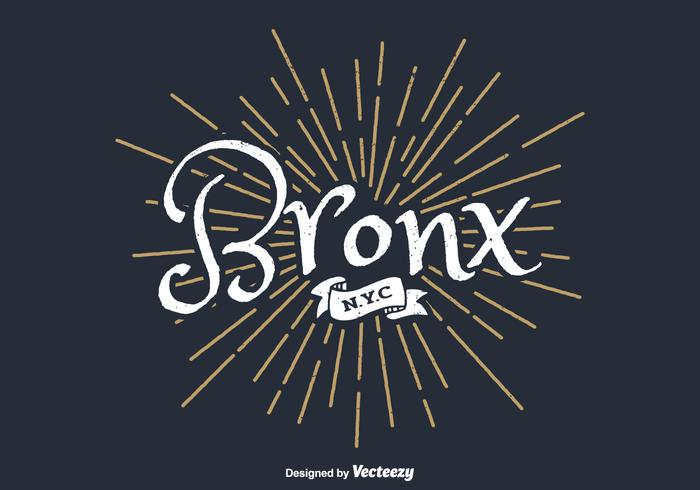 Bronx New York City Typography With Retro Starburst