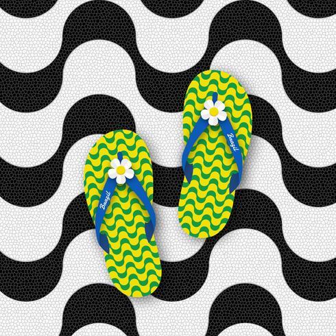 53e776e134f9 Brazil Flip Flops Isolated On Copacabana Beach Sidewalk Mosaic Pattern