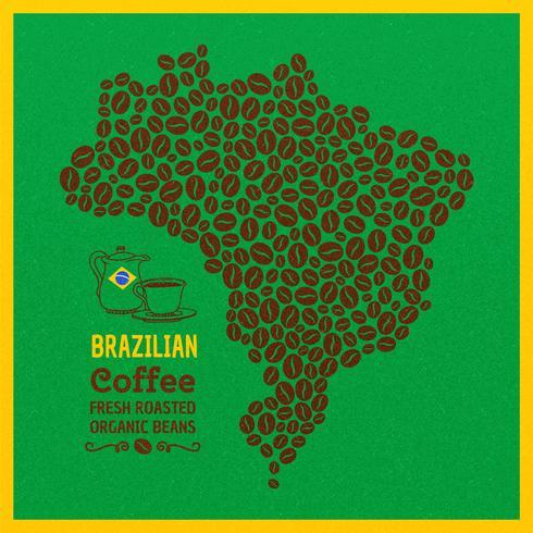Brazilië kaart van koffiebonen Vector achtergrond