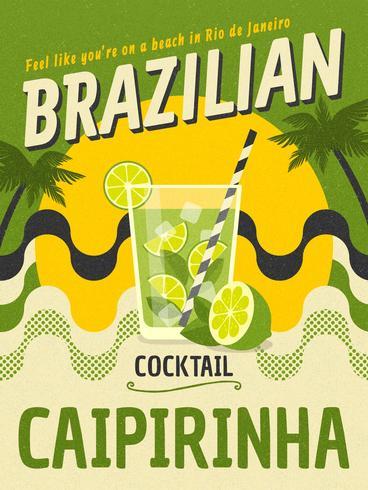 Brasilianisches Cocktail Caipirinha Retro Vektor-Plakat
