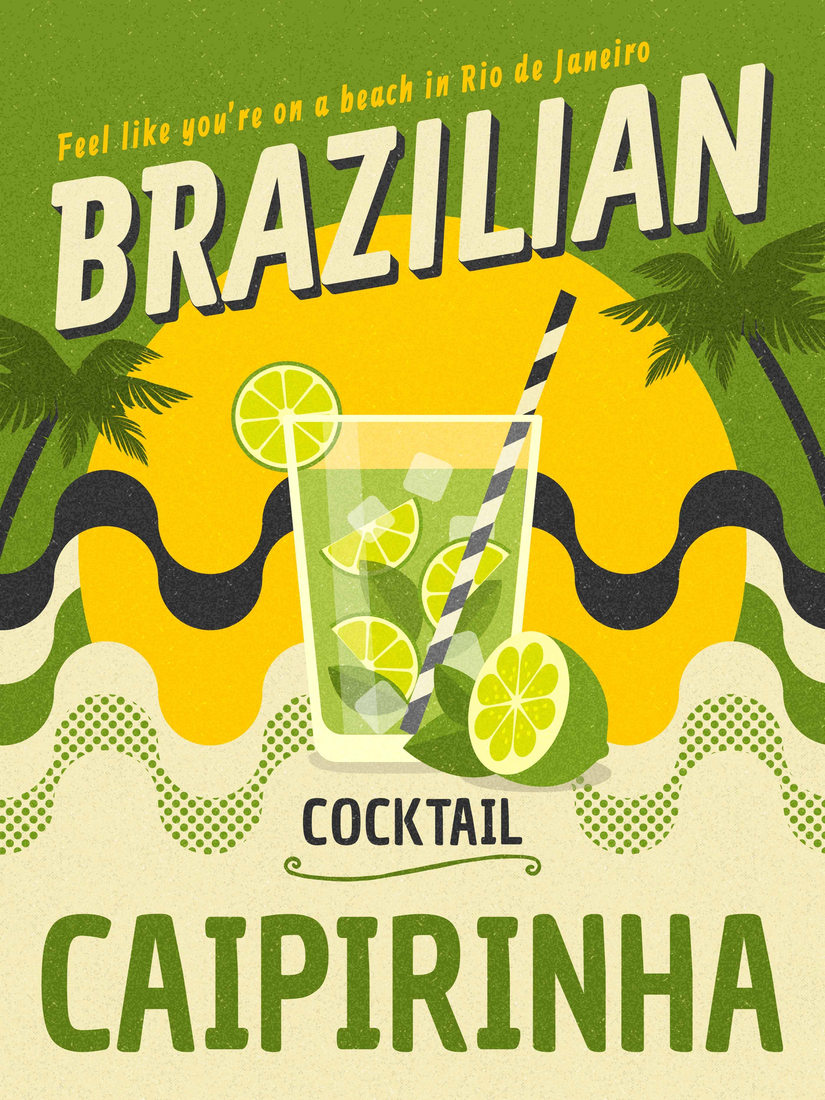 brazilian cocktail caipirinha retro vector poster
