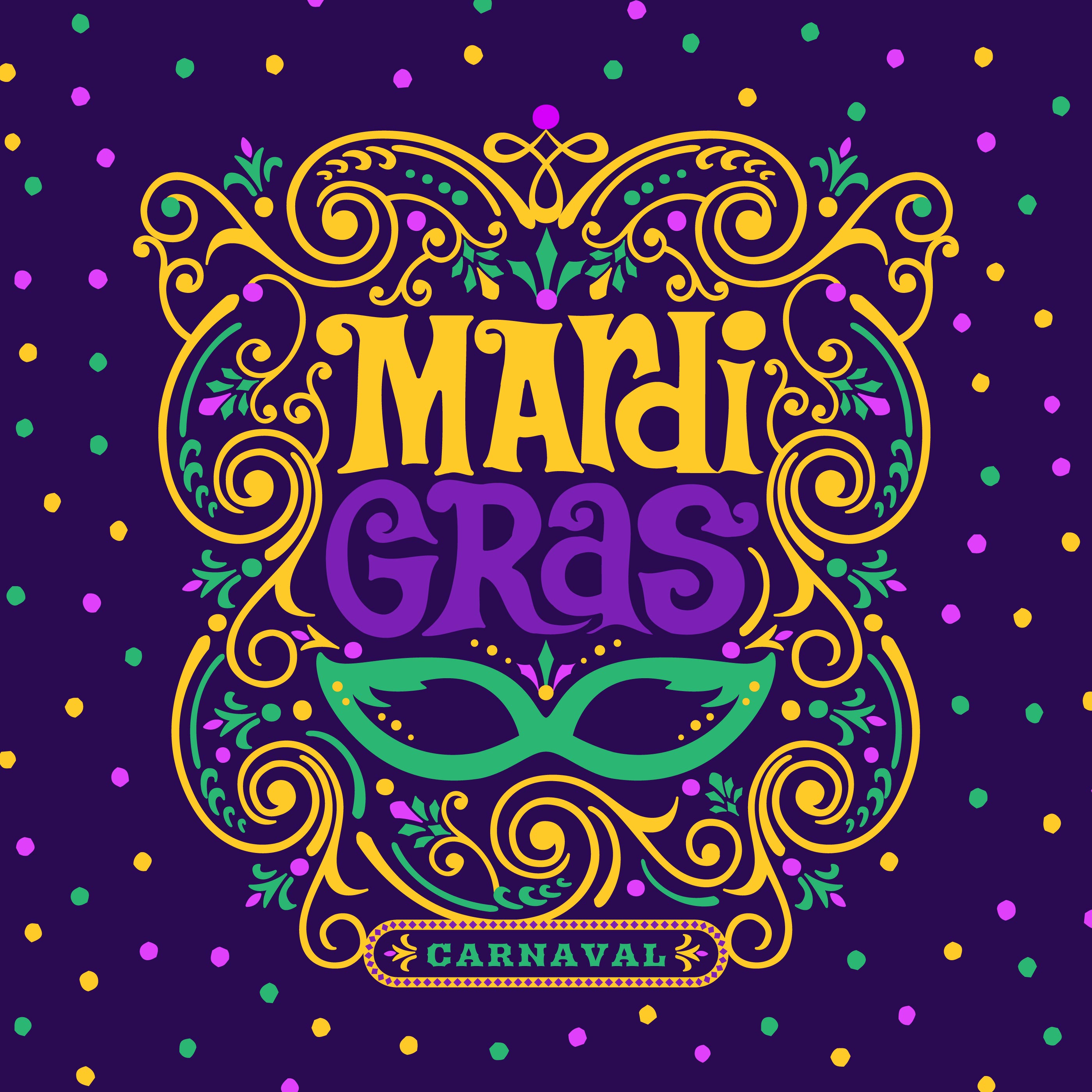 Mardi Gras Carnaval Ornate Decor Design