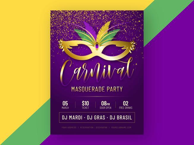 Karneval maskerad parti affisch vektor mall