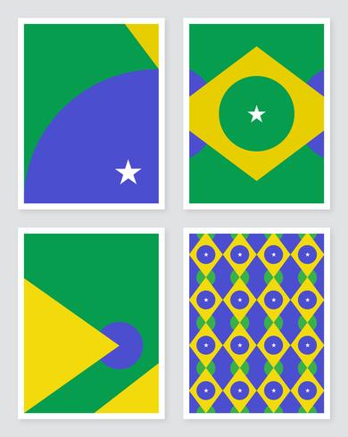 Geometrische Brasilien Flagge Konzept Designs