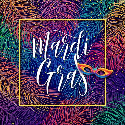 Mardi Gras Lettering On Multicolors Feathers