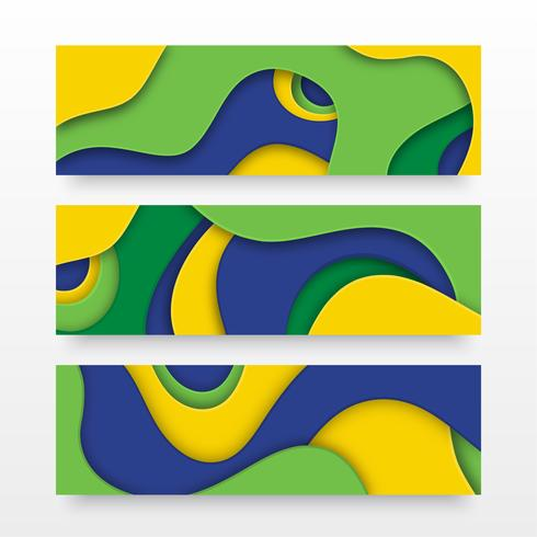 Banners em camadas de corte de papel em cores de bandeira do Brasil