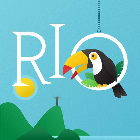 Rio-Schriftzug mit Tukan-Vektor-Hintergrund