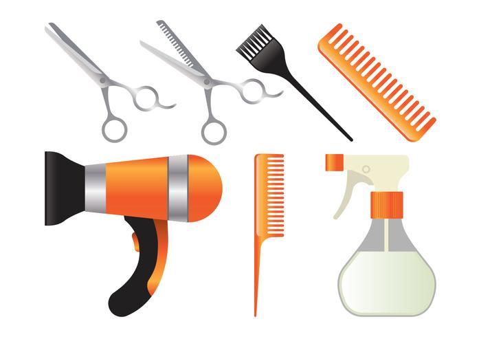 Conjunto de herramientas de salón realista vector