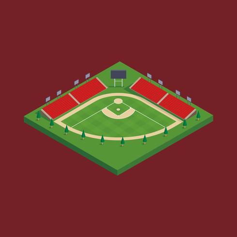 Baseball-Stadion-isometrischer Vektor
