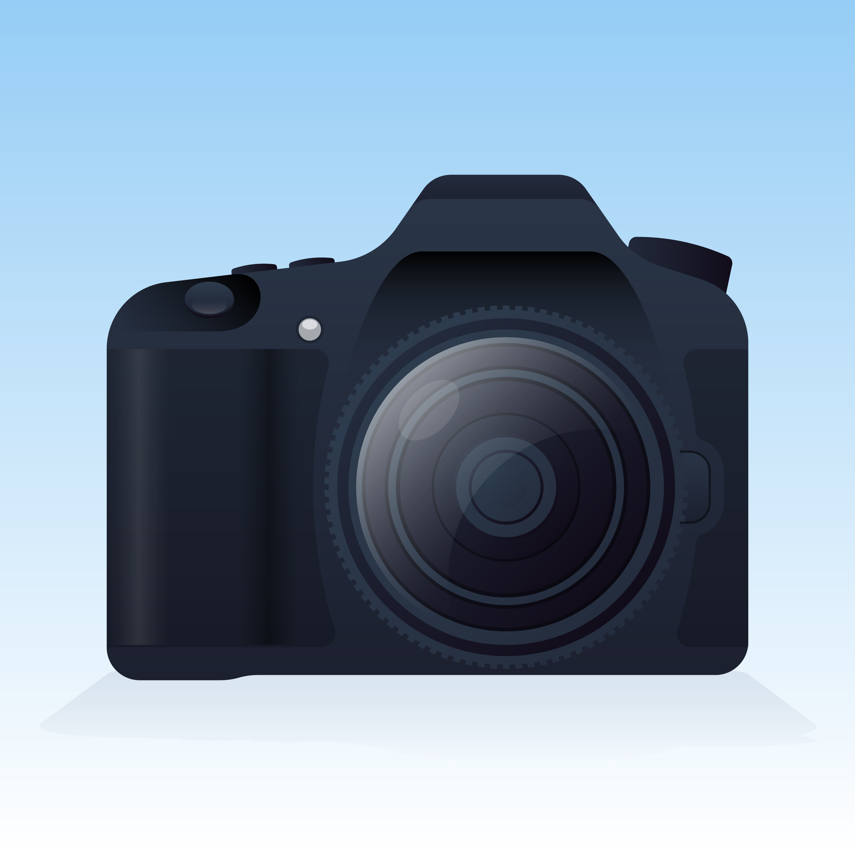 Realistic Digital Camera Illustration On Background