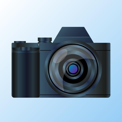 Realistisk DSLR Digital Fotokamera Framsida Med Lins Vektor Illustration