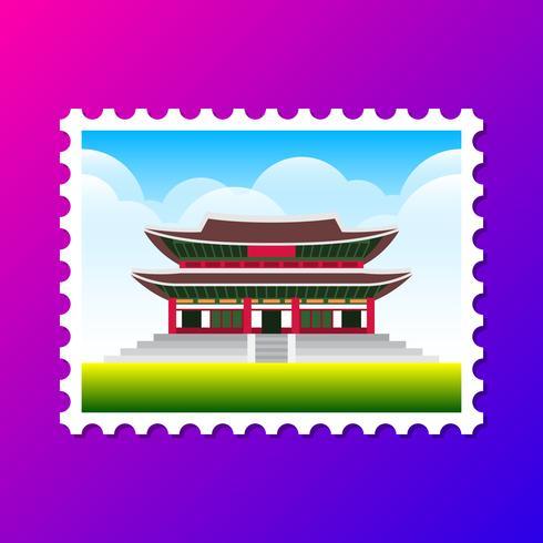 Gyeongbokgung Palace South Korea Cartão Postal Ilustração