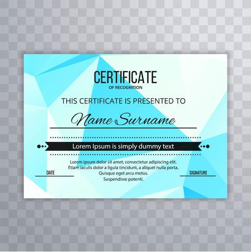 Projeto moderno do molde do certificado do polígono vetor