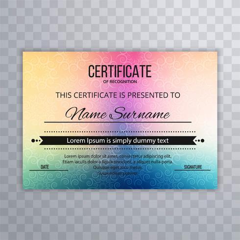 Abstract kleurrijk certificaatsjabloonontwerp
