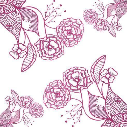 Abstract Doodle Hochzeit Blumen Hintergrund