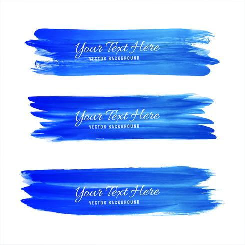 Hand drawn watercolor stroke blue shade design vector