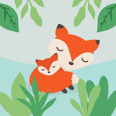 Mamãe raposa e ilustração vetorial de bebê