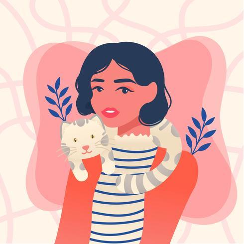 Mädchen und ihre Katze Vector