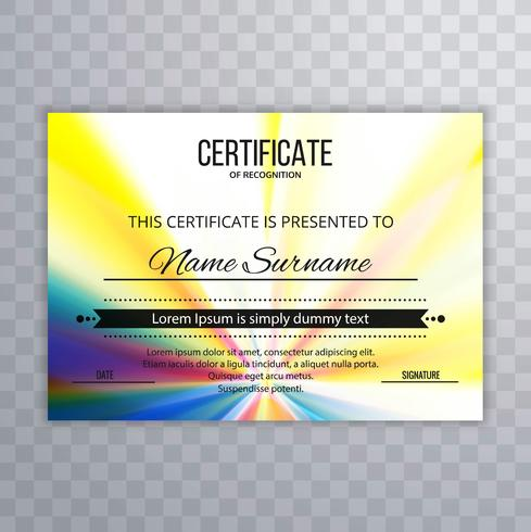 Abstract colorful certificate background vector