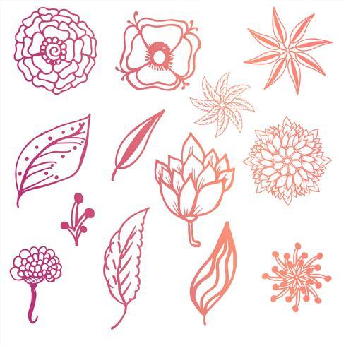Moderne kleurrijke krabbel bloemenachtergrond