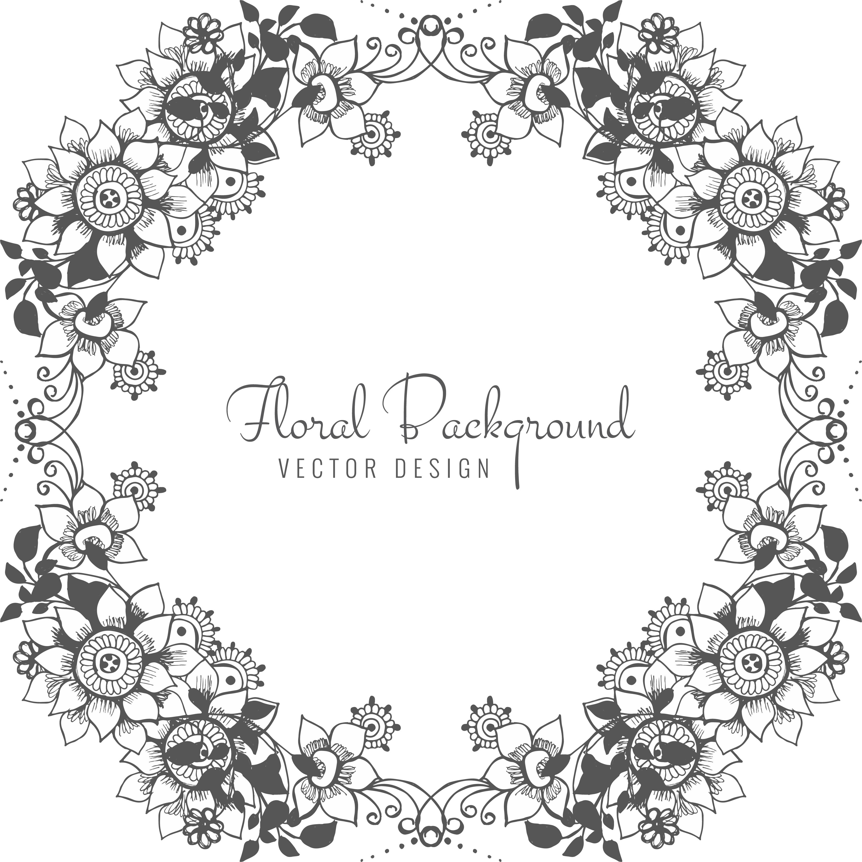 Abstract Flower Background With Decoration Elements For: Abstract Decorative Wedding Floral Background