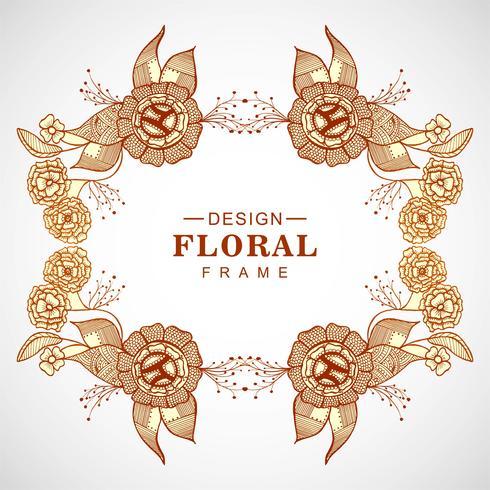 Abstracte kleurrijke bloemen het frame van de krabbelhuwelijk achtergrond