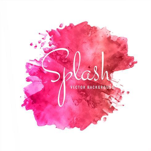 Modern pink watercolor splash background vector