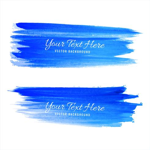 Abstract blue hand draw watercolor stroke background vector
