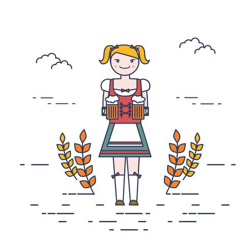 dame in dirndl vector