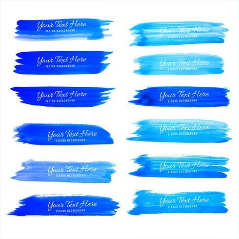 Abstract blauw waterverfslag vastgesteld vectorontwerp
