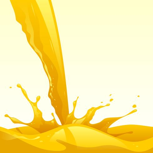 Realista Orange Liquid Splash Vector