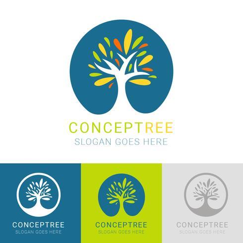 Modelo de vetor de logotipo conceito árvore
