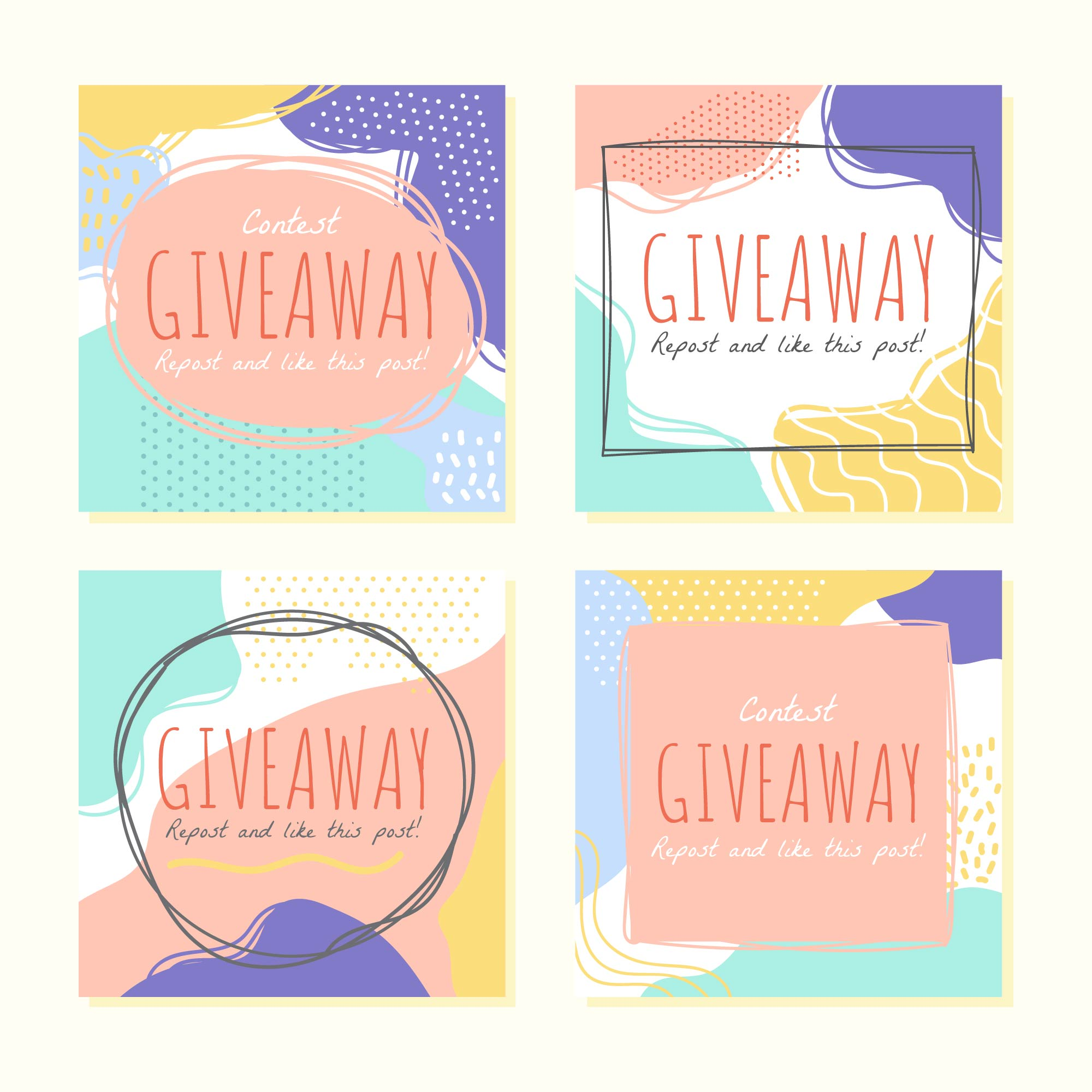 Vector Illustration Instagram: Instagram Contest Template Vector