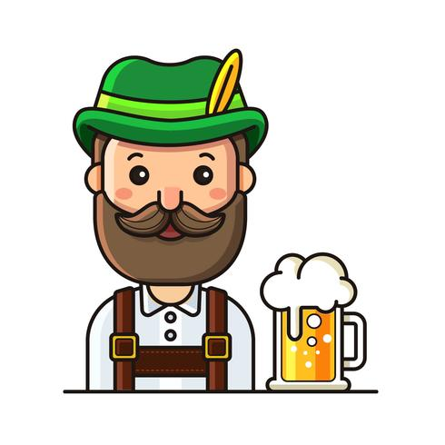 Mann in Lederhosen und Bier