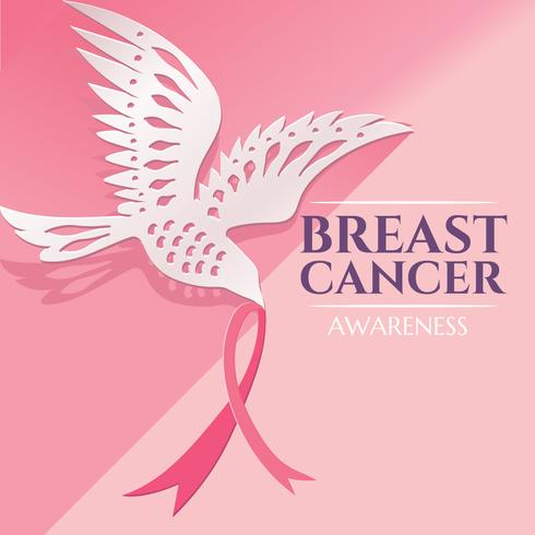 Breast Cancer Awareness Design met Dove Bird Paper Craft met Pink Ribbon