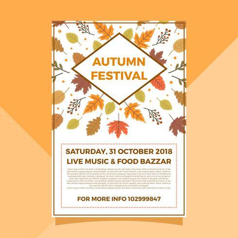 Modèle de vecteur affiche pour le festival d'automne plat automne