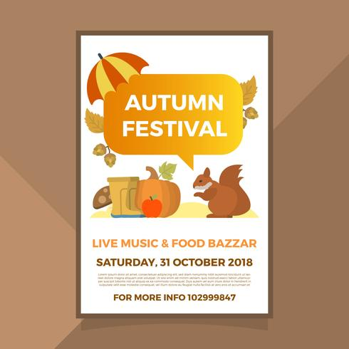 Flat Fall Autumn Festival Poster Vector Template