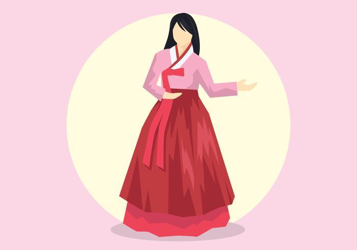 dame in hanbok vector