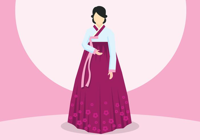Dame In Hanbok Illustration vektor