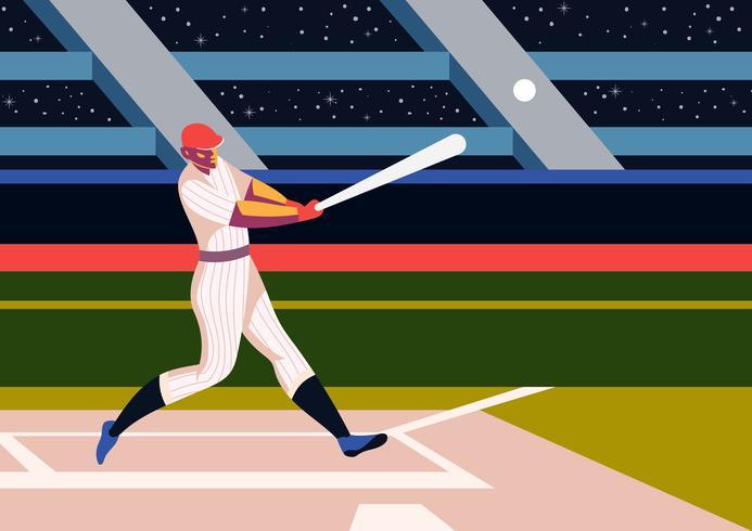 Jugador, jugando, en, béisbol, parque