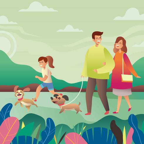 feliz familia de perros vector