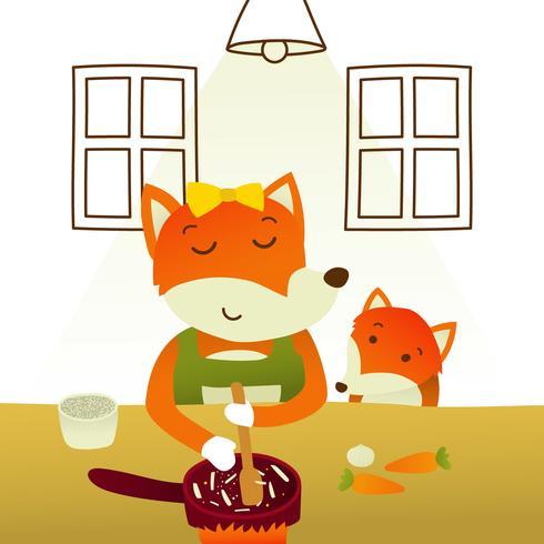 Mãe e bebê raposa cozinhar ilustração vetorial de jantar
