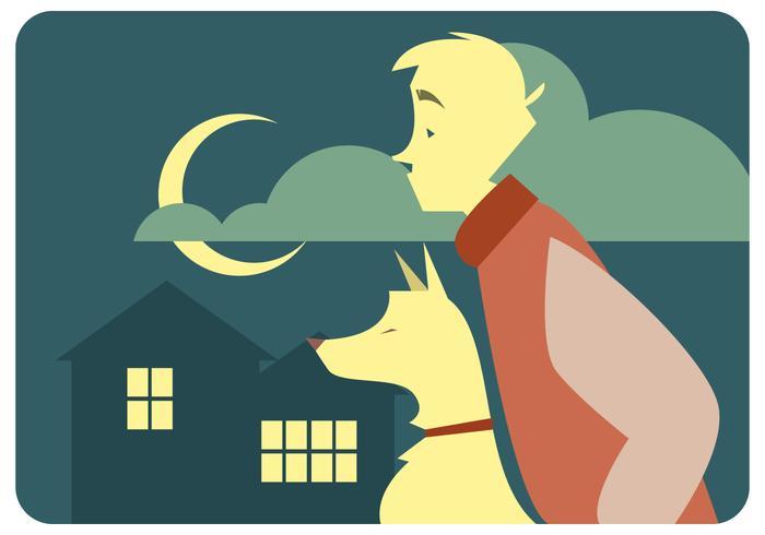 Nacht van een jongen en zijn hond Vector